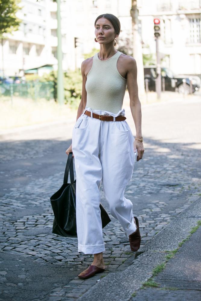 Julie Pelipas in swimwear in Paris.