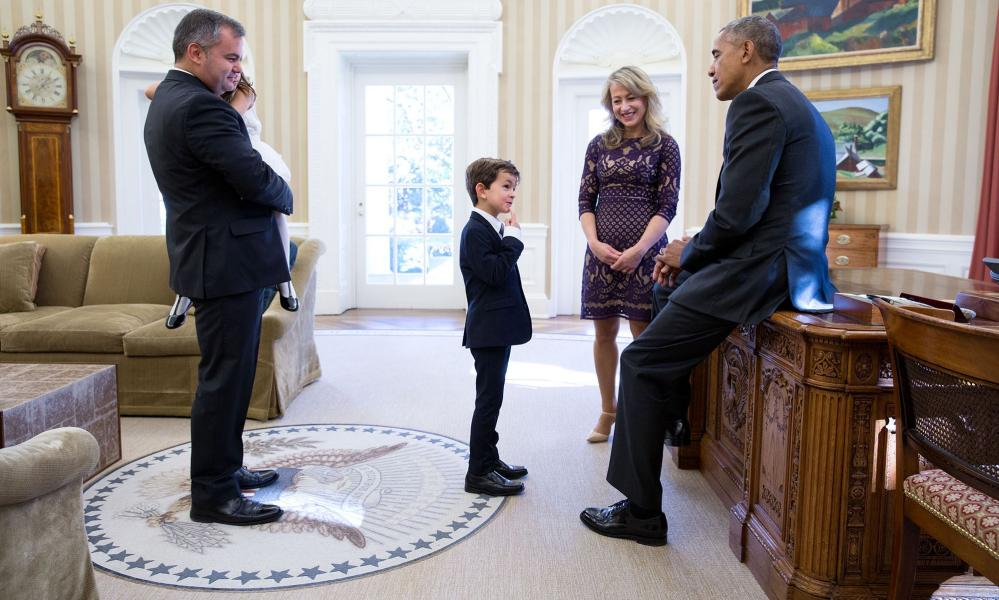 Meeting with six-year-old Alex Myteberi, who wrote to Obama in 2016 after seeing a injured Syrian boy on the news.