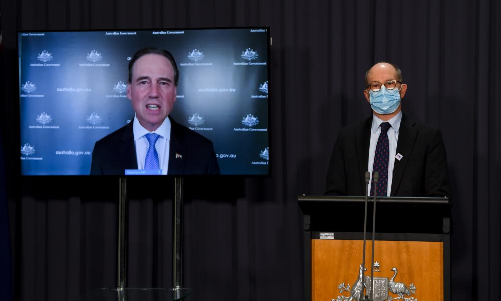 Australian health minister Greg Hunt and chief medical officer Paul Kelly speak to the media at Parliament House in Canberra, Friday, 8 October 2021.