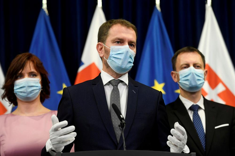 Slovakia's Prime Minister Igor Matovic speaking at a news conference in Bratislava in March