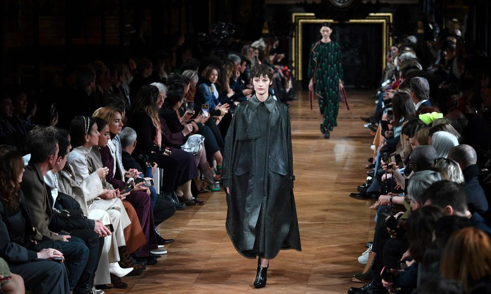 A model presents a creation by Stella McCartney at her Paris fashion week show