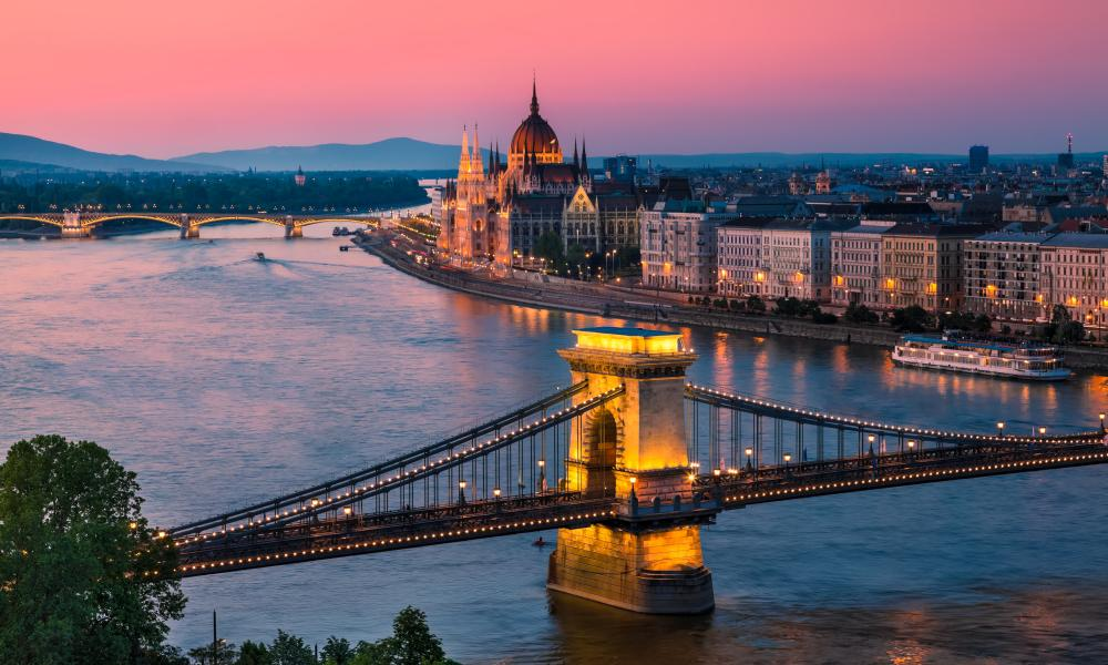 View of Budapest and the Danube. Exodus Holidays bike and boat Passua, Budapest and Vienna