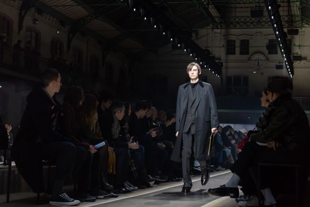 Suited and booted on the Dunhill catwalk in Paris.