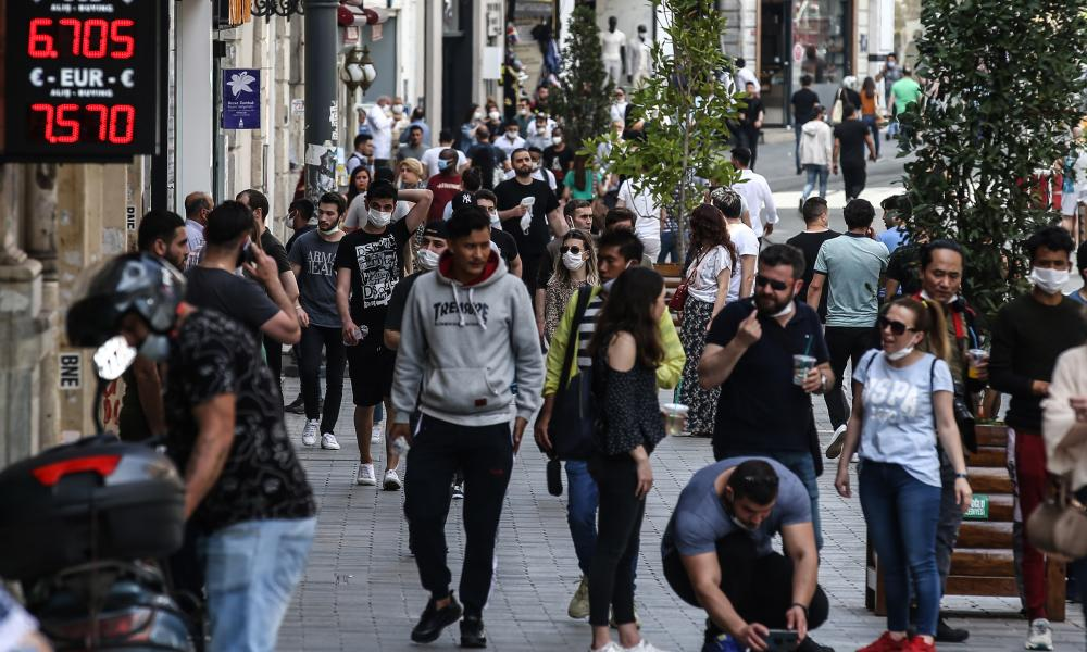 Citizens of Istanbul during the first weekend without pandemic restrictions since 10 April, at Istiklal Street in Istanbul, Turkey on June 06, 2020. (Photo by Onur Coban/Anadolu Agency via Getty Images)