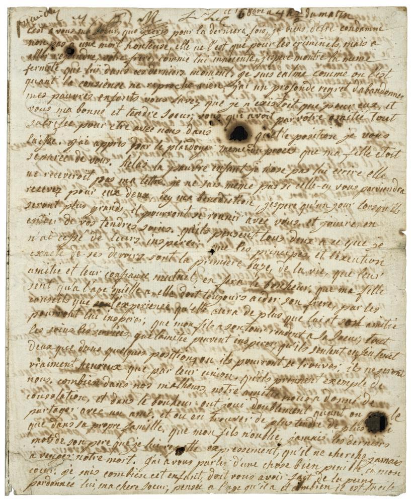 The last letter of Marie-Antoinette