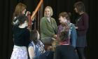 Lyn Gardner goes back to school. On stage with pupils at the Coloma Convent, Croydon.   For Home News