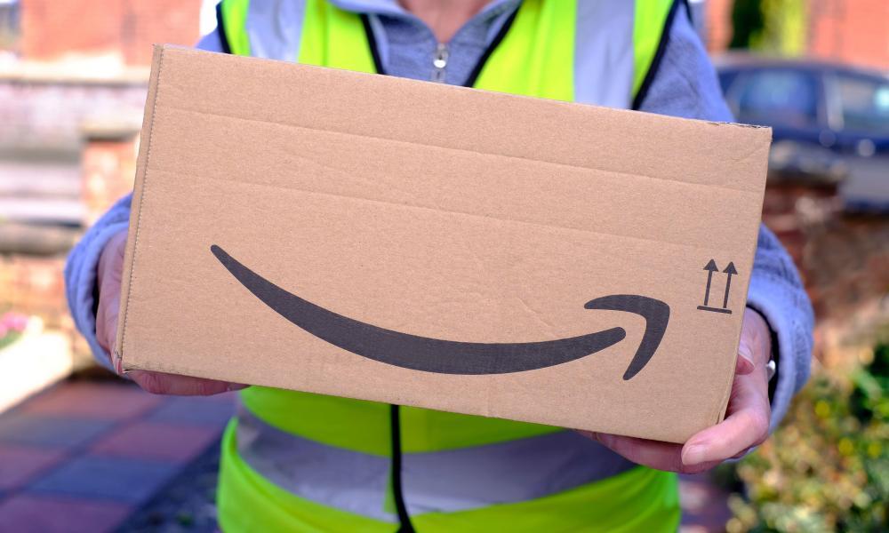 Person delivering amazon parcel