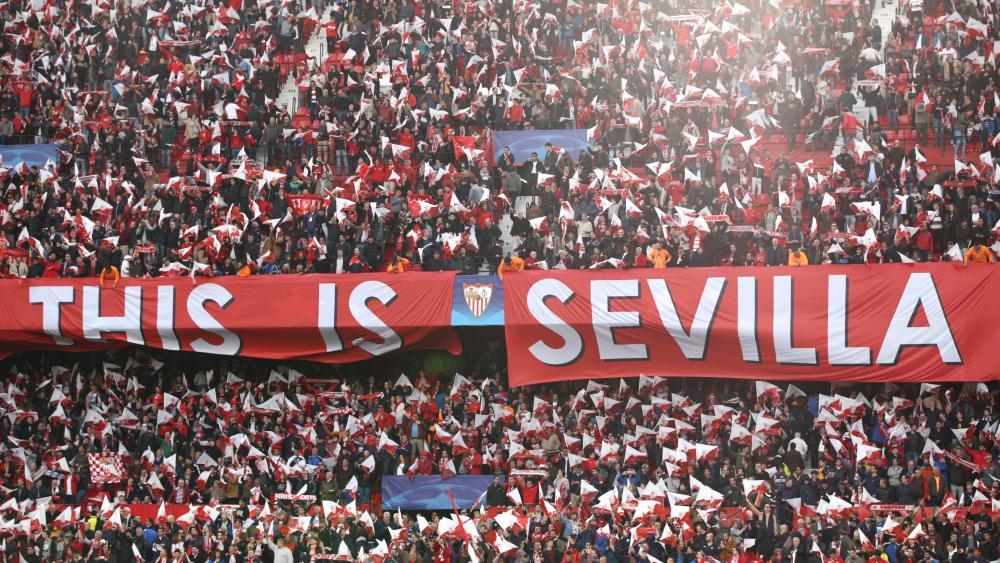 Sevilla fans at Estadio Ramon Sanchez Pizjuan.