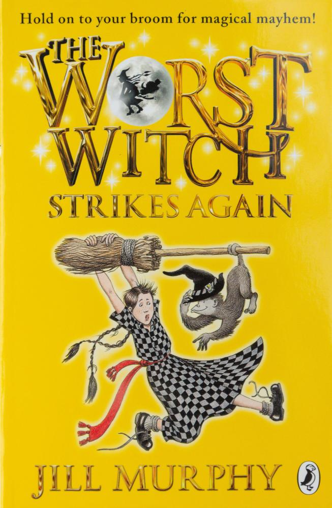 The Worst Witch Strikes Again by Jill Murphy, one of a long-running series about a troubled pupil of magic school, Mildred Hubble.