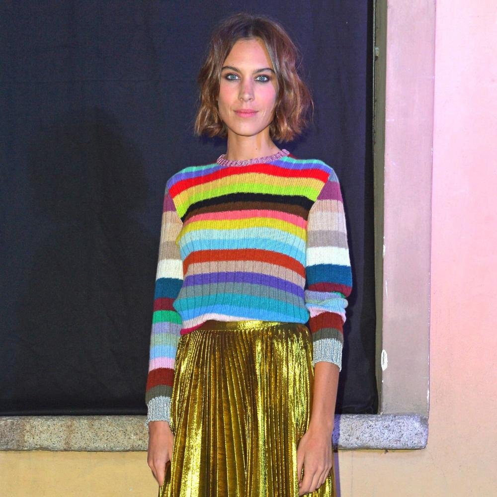 Alexa Chung in Gucci's rainbow sweater.