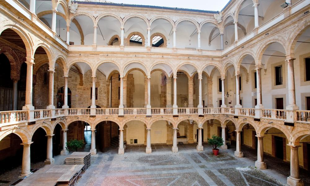 Interior court of the Palazzo dei Normanni in Palermo