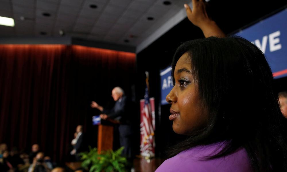 Erica Garner at a Bernie Sanders campaign event in 2016. After her death, Sanders called Garner 'a fighter for justice'