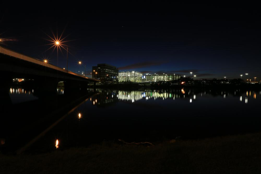 Night-time reflections on the water