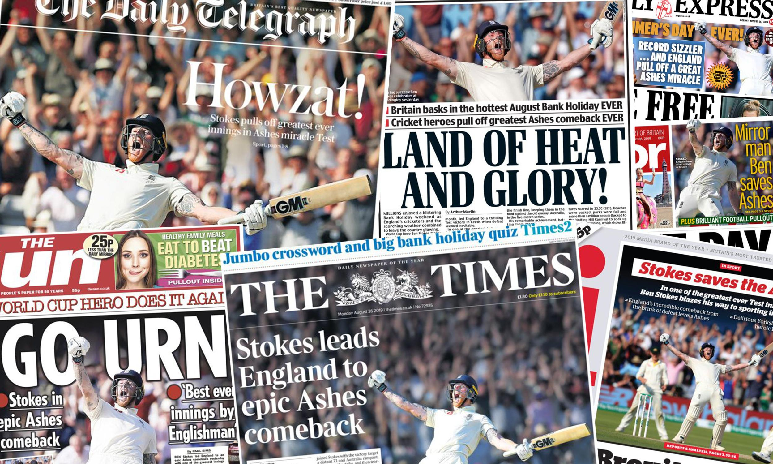 'Go urn, my son': what the papers say about England's Ashes comeback