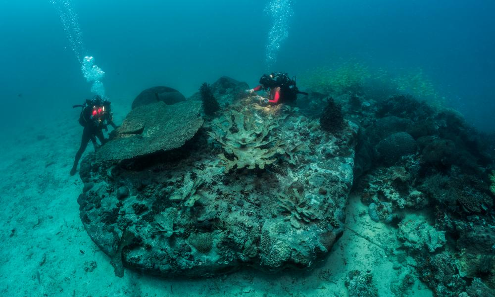 Divers are shown retrieving items for Treasures from the Wreck of the Unbelievable.
