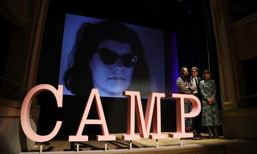 Alessandro Michele, Andrew Bolton and Anna Wintour announcing the Met Museum costume institute's spring 2019 exhibition Camp: Notes on Fashion, in Milan.