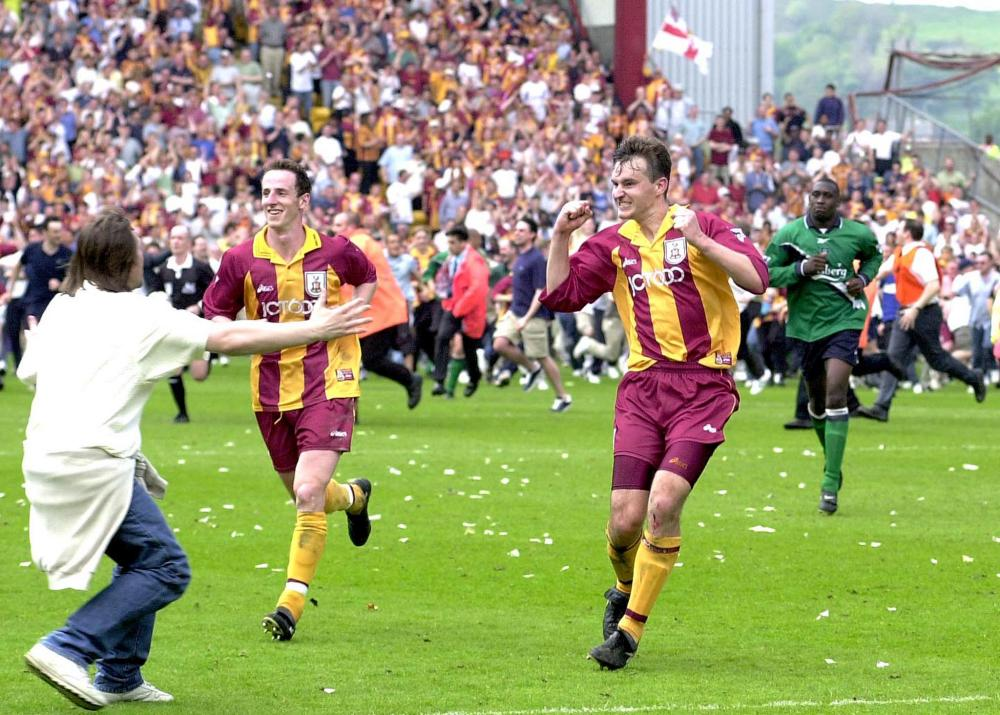 David Wetherall's goal against Liverpool kept Bradford in the league.