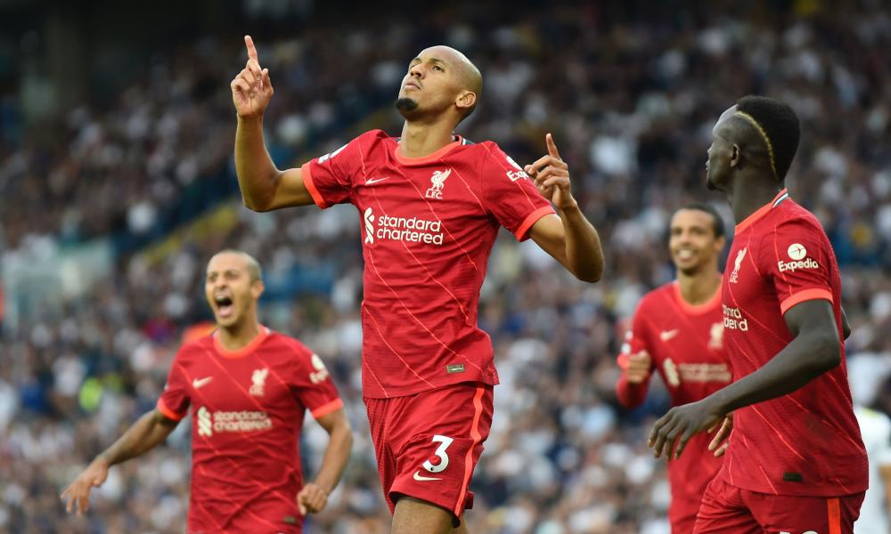 Liverpool's Fabinho celebrates scoring their second goal with teammates