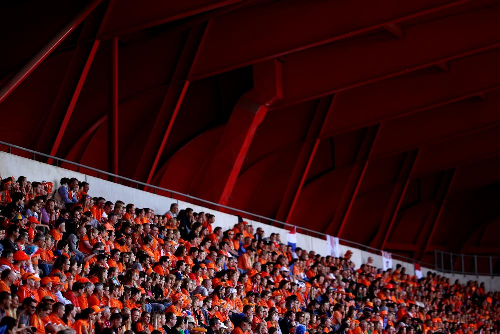 Dutch fans at Stade du Hainaut.