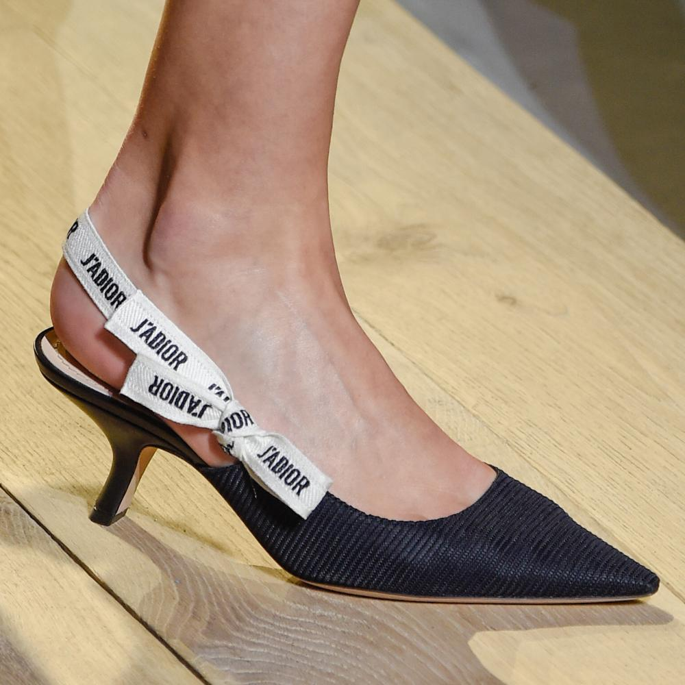 Dior-branded ribbon slingbacks.