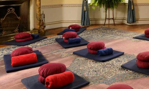 Yoga mats at Sharpham Trust, Totnes, Devon.