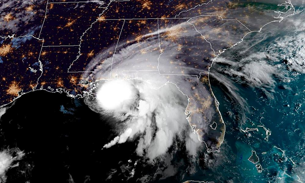 This RAMMB/NOAA satellite image shows Hurricane Sally off the US Gulf Coast on September 15, 2020, at 12:00 UTC.