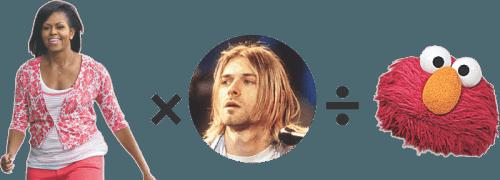 Composite image of Michelle Obama, Kurt Cobain, Elmo