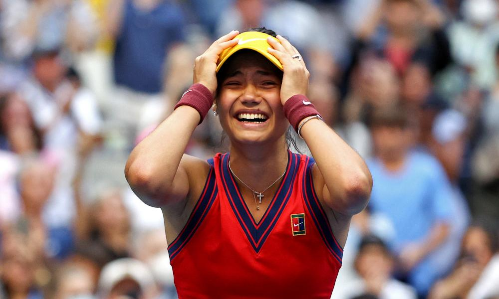 A tearful Emma Raducanu celebrates victory against Leylah Fernandez of Canada in their US Open final