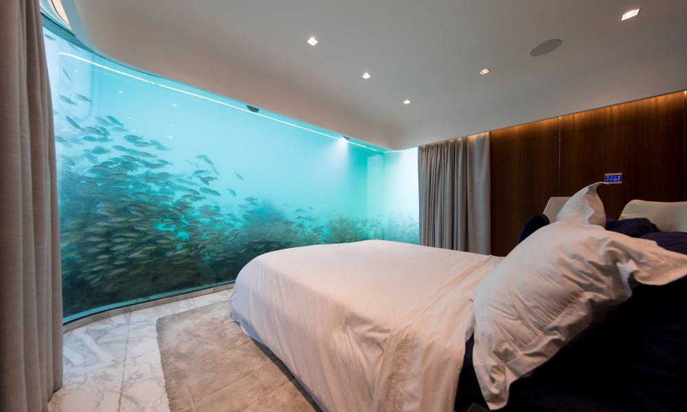An underwater bedroom on the Floating Seahorse.