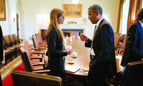 Samantha Power with President Barack Obama after a Cabinet meeting in 2013.
