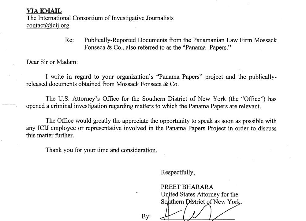 DoJ letter Panama Papers