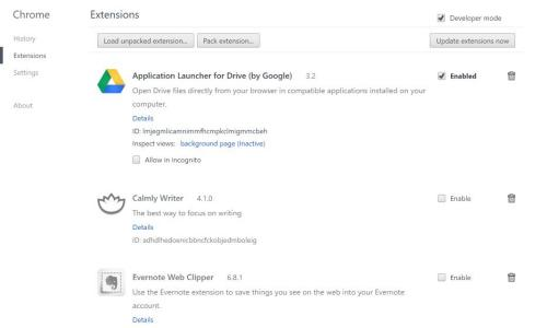 Extensions settings in Chrome