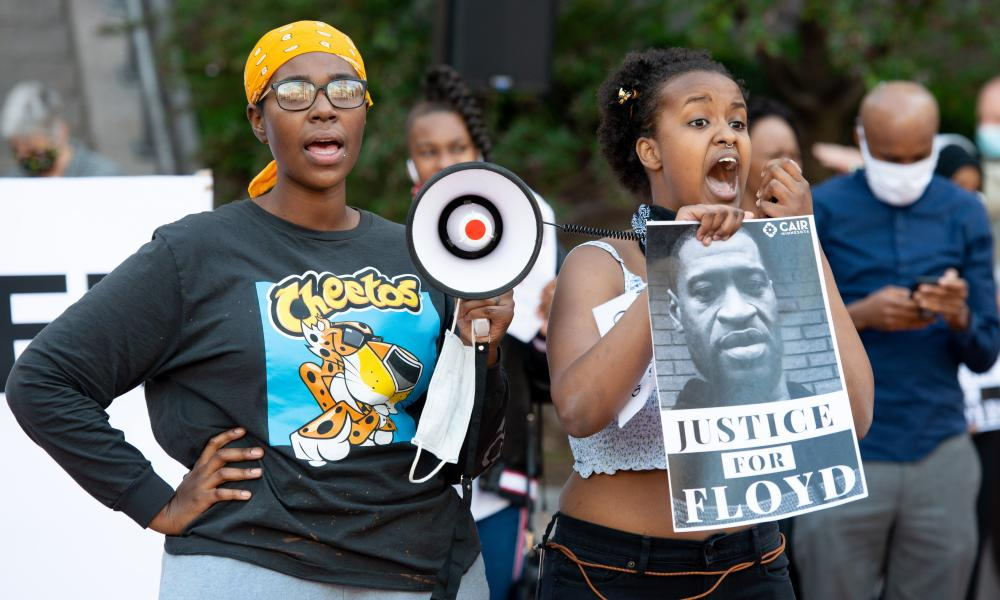 Protesters speak out over the death of George Floyd in Minneapolis.
