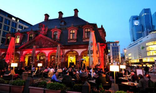 Cafe bar Hauptwache on Hauptwache square in the evening, Frankfurt , Germany.