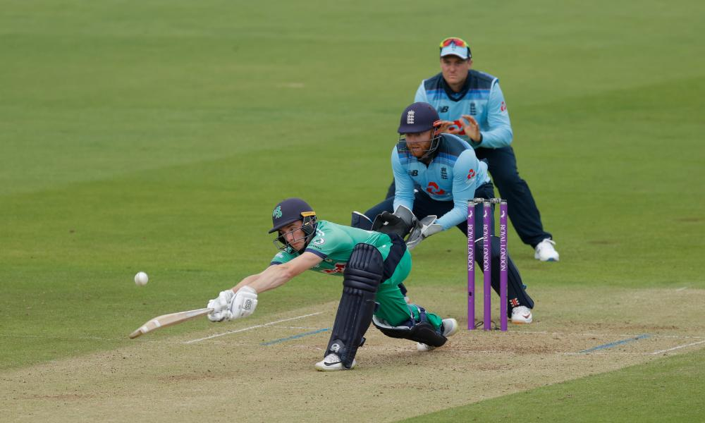 Lorcan Tucker of Ireland tries to sweep Adil Rashid but is caught by Reece Topley.