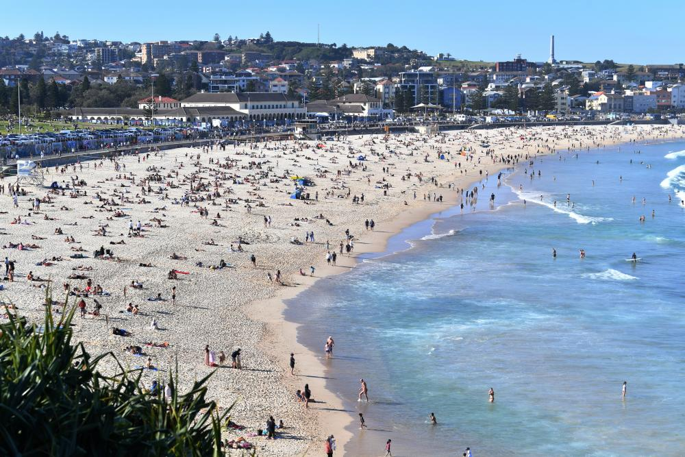 Bondi Beach with the sewer vent seen in the top right-hand corner.