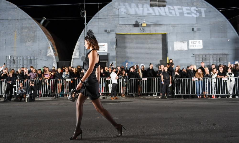 Bella Hadid on the outdoor urban catwalk for Alexander Wang