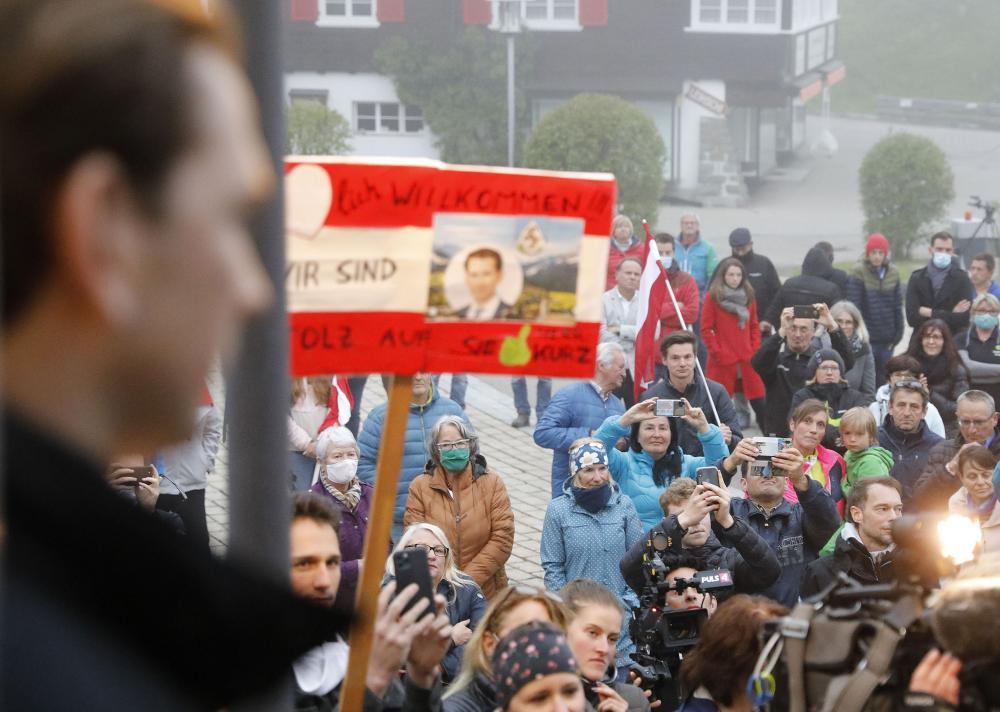 People crowd together during a visit by Sebastian Kurz, Austrian chancellor, to Kleinwalsertal.