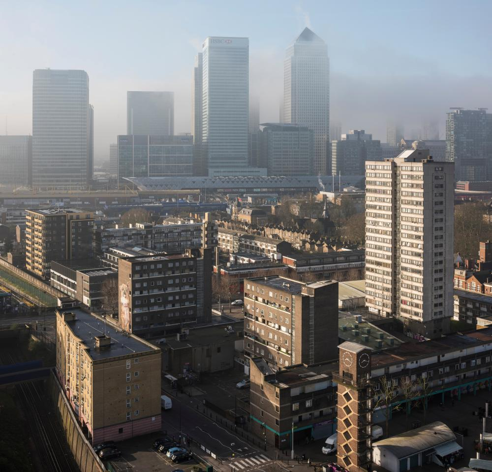 Aerial view of Canary Wharf & Chrisp Street Market at dawn, London, UK