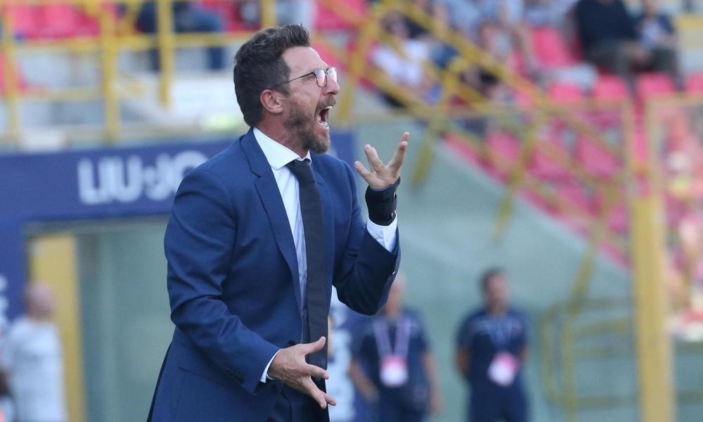 Eusebio Di Francesco vents his frustration during Roma's tepid display at Bologna.