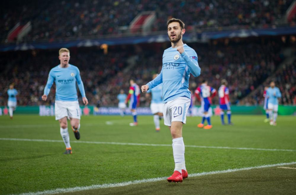 Bernardo Silva celebrates his team's second goal.
