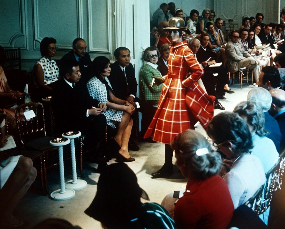 A general view taken in the Paris fashion salon of designer Givenchy at a fashion show promoting his latest designs - in 1970