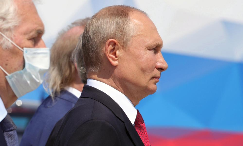 Russian president Vladimir Putin attends a ceremony presenting Russian Hero of Labour gold medals on the Day of Russia, in Moscow.
