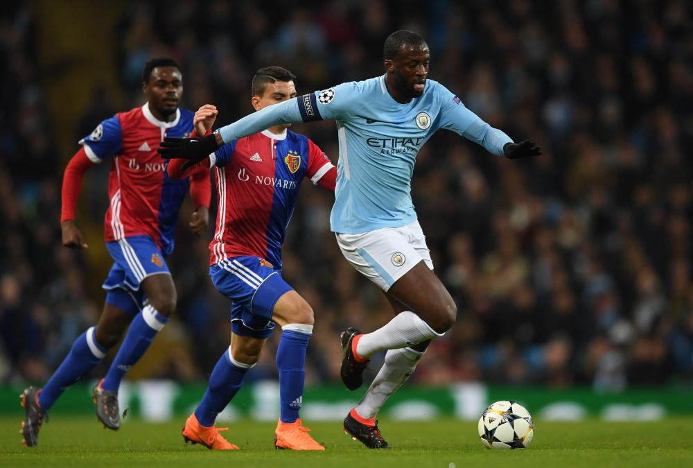 Yaya Toure of Manchester City advances with the ball.