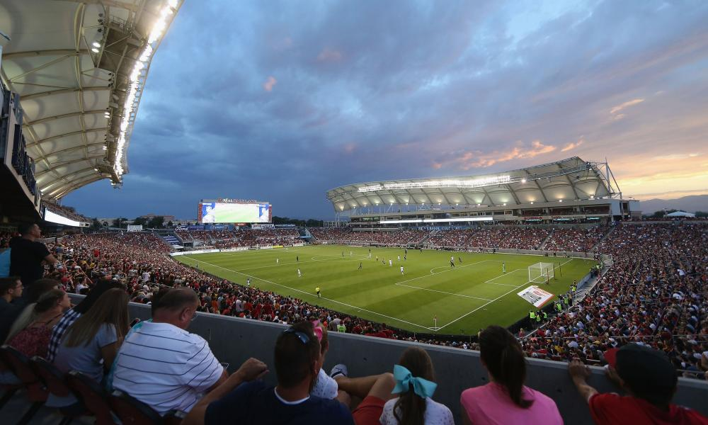 A shot of the the pre-season friendly match between Real Salt Lake and Manchester United at Rio Tinto Stadium.