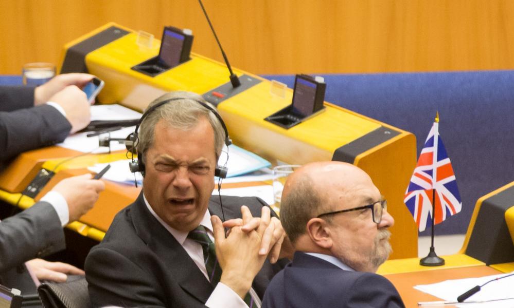 Extraordinary sitting of European Parliament, Brussels, Belgium - 28 Jun 2016Mandatory Credit: Photo by Isopix/REX/Shutterstock (5737782w) Jean-Claude Juncker, Nigel Farage Extraordinary sitting of European Parliament, Brussels, Belgium - 28 Jun 2016