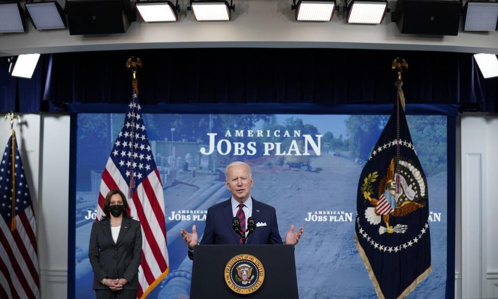 Joe Biden speaks at the White House on the American Jobs Plan. Vice President Kamala Harris is at left.