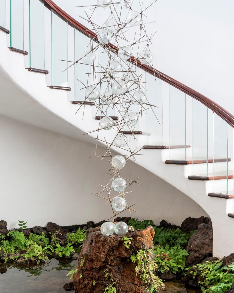 A staircase at the Jardin de Cactus.