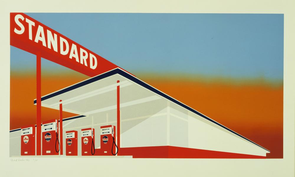 Edward Ruscha, Standard Station, colour screenprint, 1966.