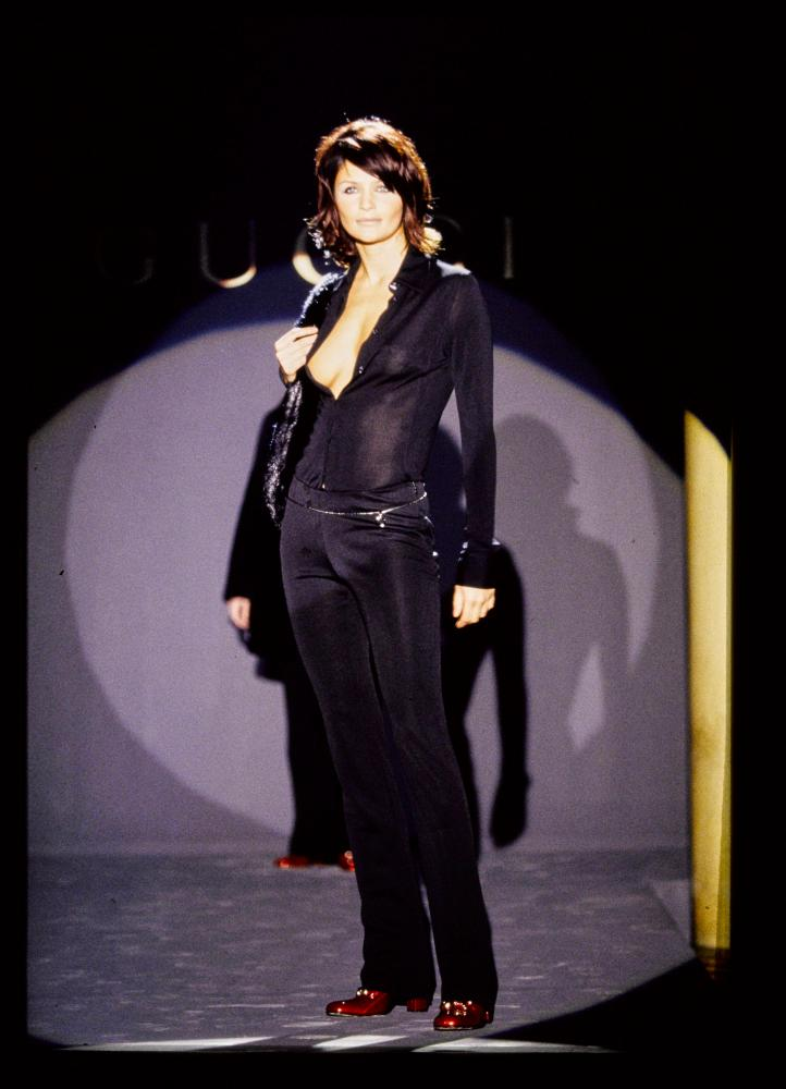 Helen Christensen on the Gucci autumn/winter 1995 catwalk.